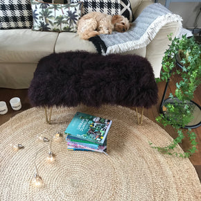 wine mongolian sheepskin footstool