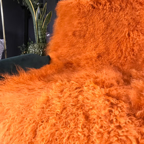 orange Mongolian Sheepskin stool