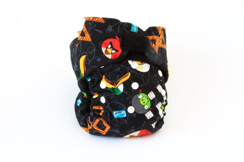 Angry Birds Pattern 1-Size, Hidden PUL Diaper (Hook & Loop)