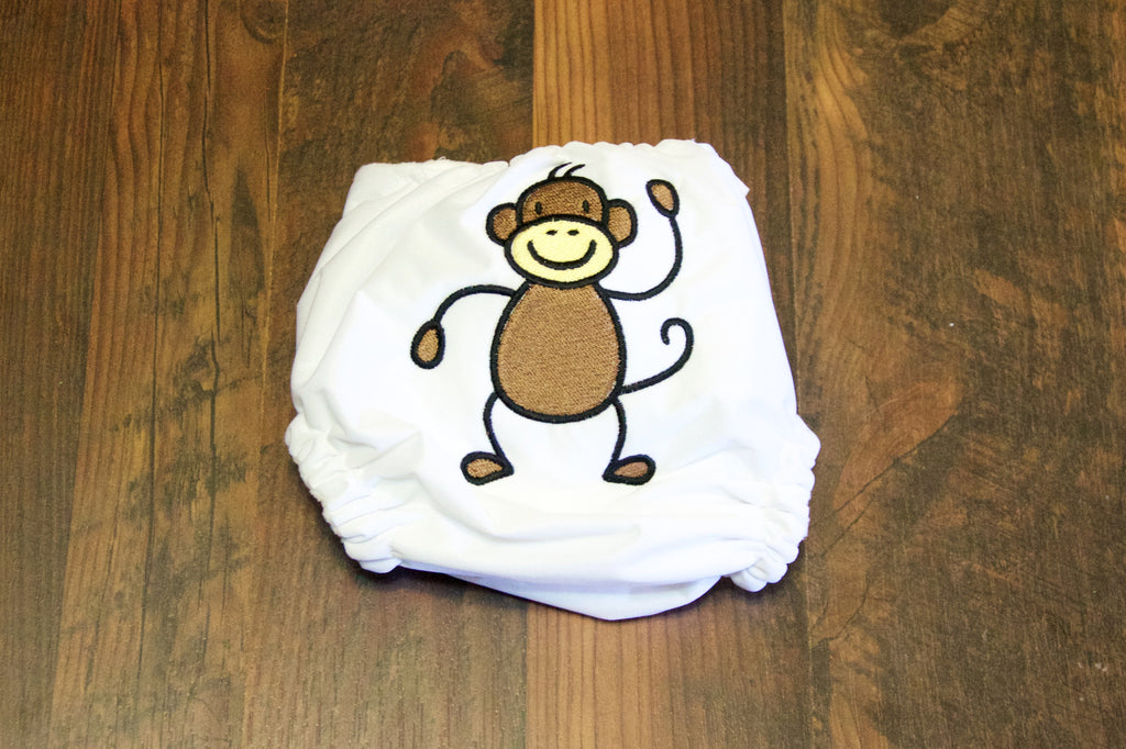 Monkey embroidered 1-Size Diaper (Snaps)