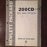 Hewlett Packard HP 200CD/CDR Wide Range Oscillator Operation & Service Manual.