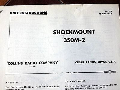 Collins Shockmount 350M-2 Instruction Guide Document.