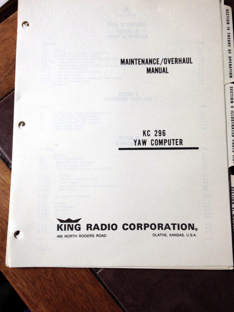 King KC-296 Yaw Computer Service Manual