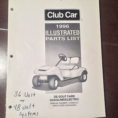 ClubCar DS Golf Carts Gasoline Electric Parts Manual  Circa 1996