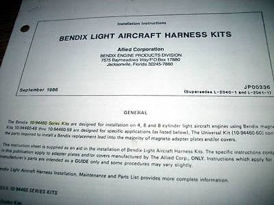 Bendix 10-94460 Series Light Aircraft Harness kits Install Data Sheets.