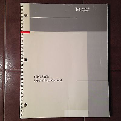 Hewlett Packard HP 3325B Synthesizer-Function Generator Operation Manual.