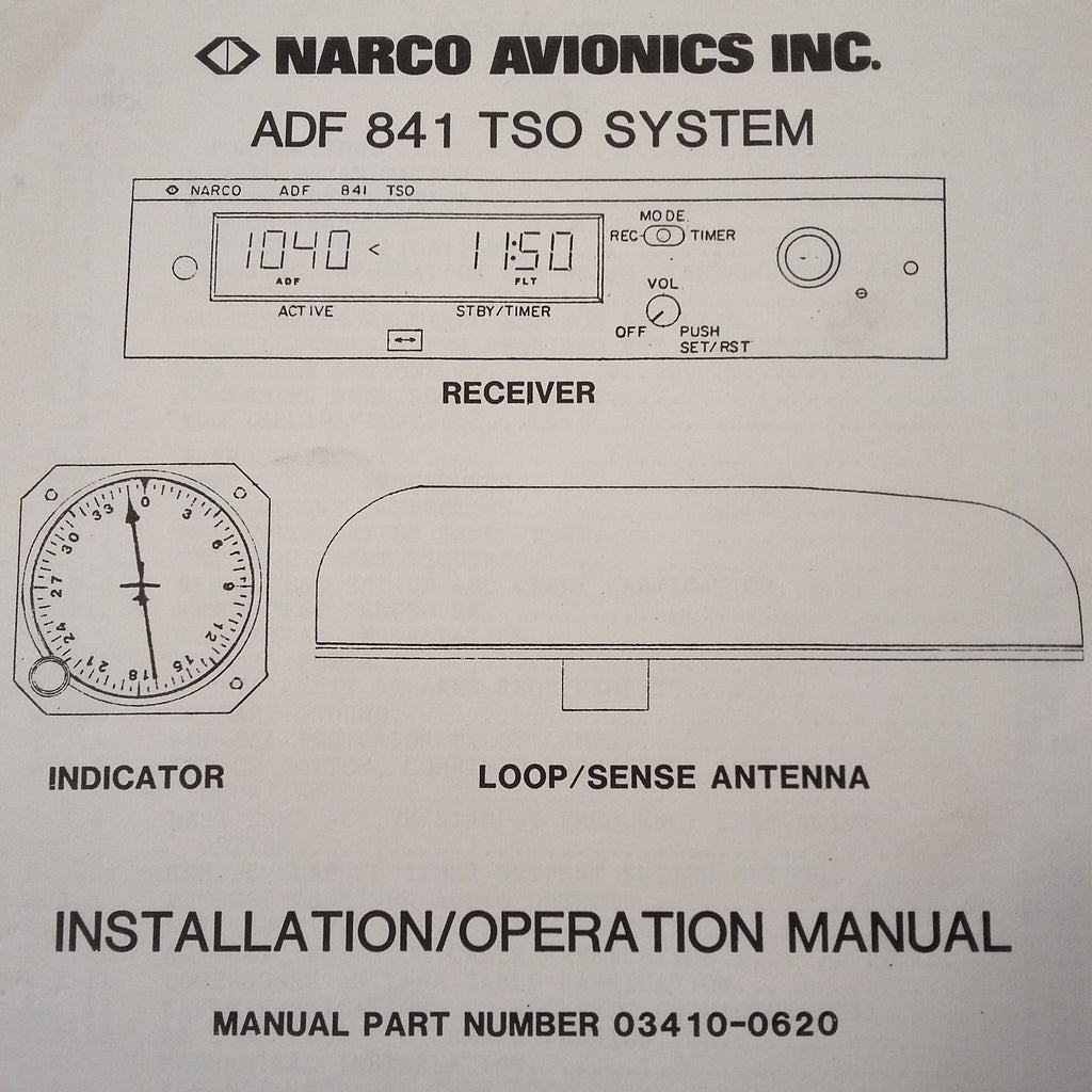Narco ADF-841 Install manual. on