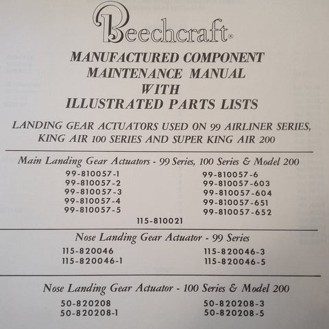 Beechcraft Landing Gear Actuator 99-810057, 115-820046, 50-820208 Service Manual.