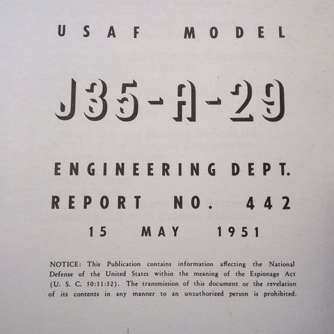 Allison J35-A-29 Operating Manual.