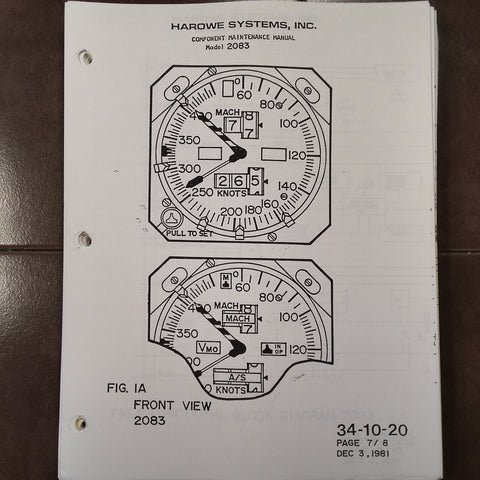 Smiths Industries Mach Airspeed Model 2083 Series Component Maintenance & Parts Manual.   Circa 1989.