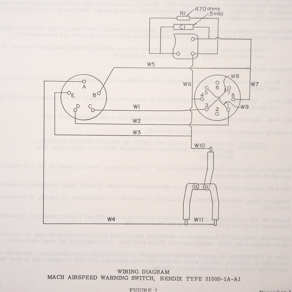 Bendix Pioneer Mach Airspeed Warning Switch 31000-1A-A1 Overhaul Parts Manual.  Circa 1958.