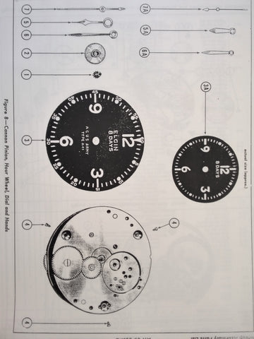 Elgin A-11, AN5743, R88C0583 Aircraft Clock s Service Overhaul Parts Manual