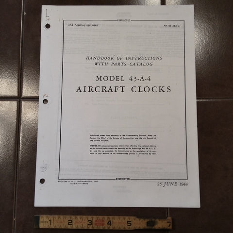 Jaeger 43-A-4 Clocks Service Overhaul Parts Manual.