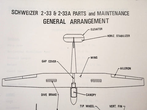 Schweizer Glider SGS 2-33 and 2-33A Parts and Maintenance Manual.
