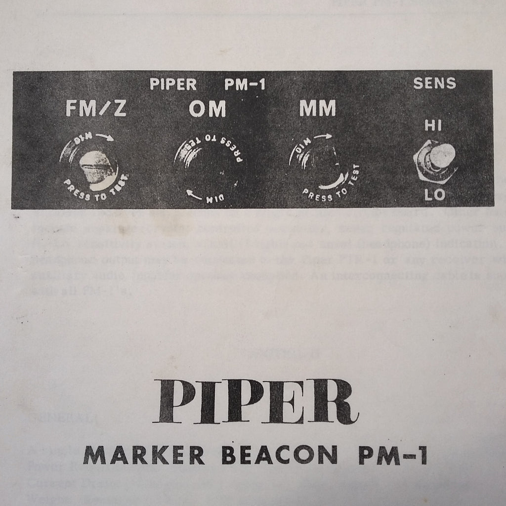 Piper PM-1 Marker Beacon Install & Service manual.