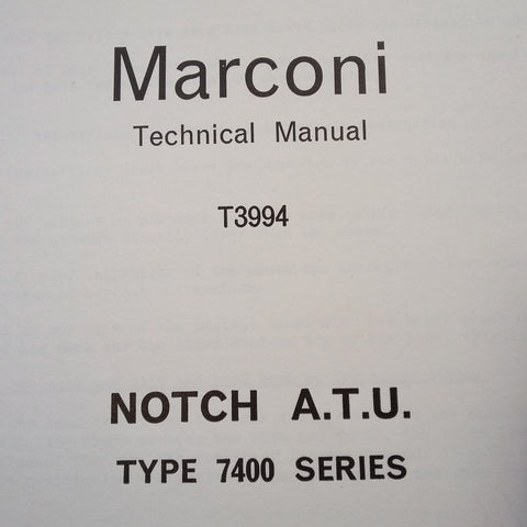 Marconi Type 7400 Notch Aerial Tuning Unit Overhaul Manual.