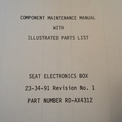 Matsushita RD-AX4312 Seat Electronics Box Maintenance & Parts Manual.