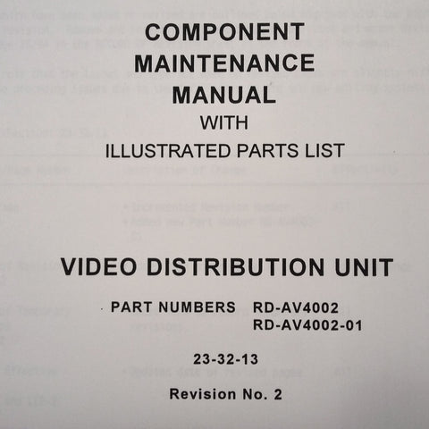Matsushita Video Distribution Unit RD-AV4002 & RD-AV4002-01 Component Maintenance Parts Manual