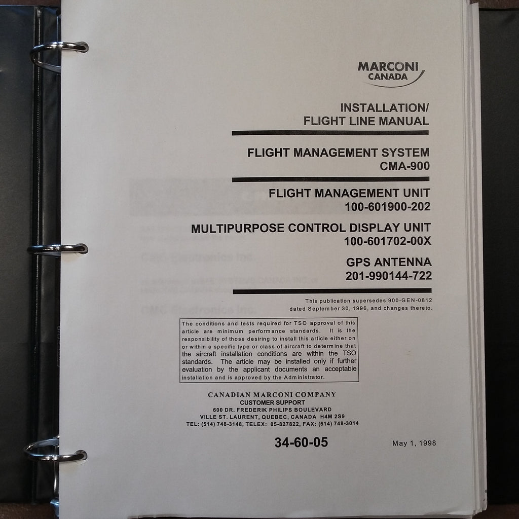 Canadian Marconi CMA-900 FMS Install & Ramp Maintenance Manual.