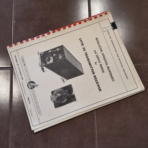 Lear LVTR-36 VHF Radio Install, Ops, Maintenance & Parts Manual.