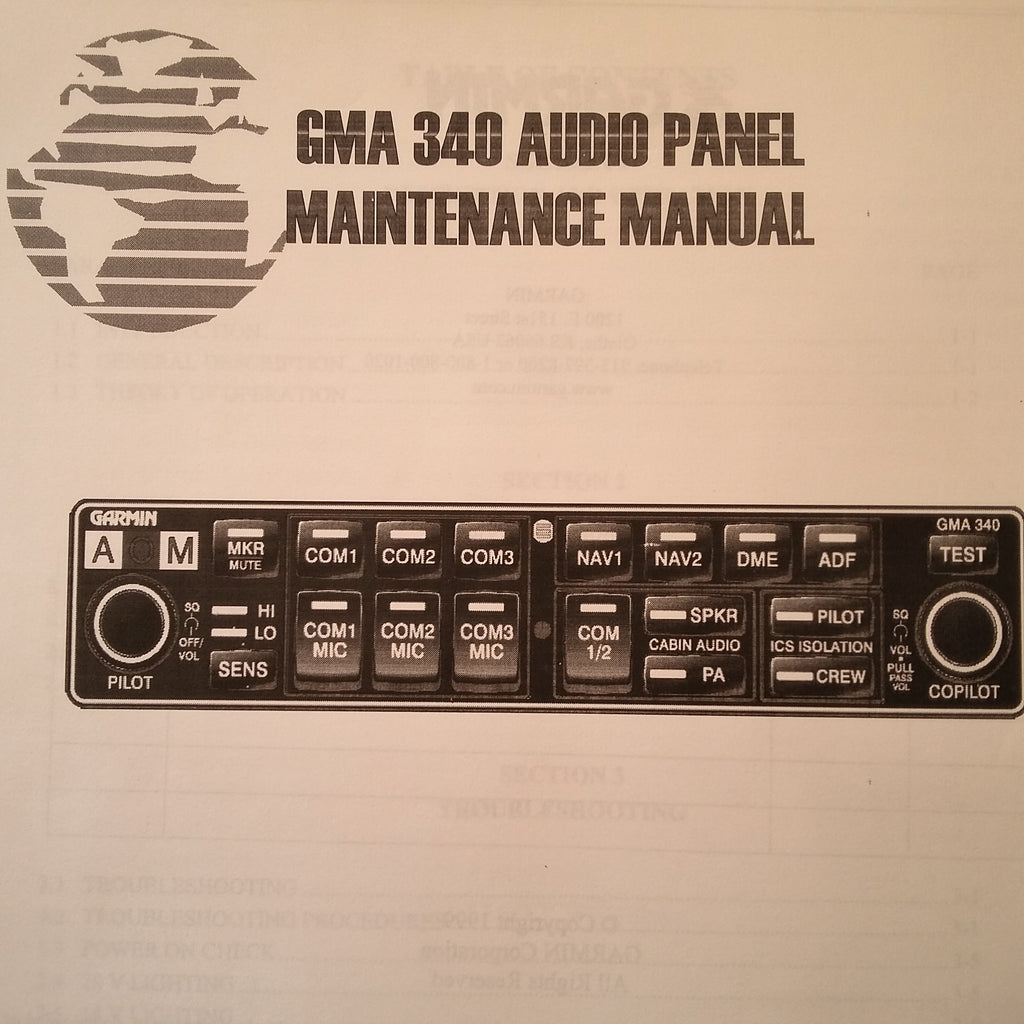 Garmin GMA 340 Audio Panel Maintenance Manual.