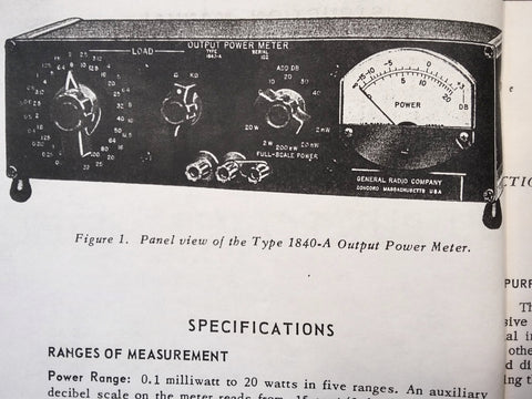 GenRad General Radio Type 1840-A Power Meter Instruction Service Manual.