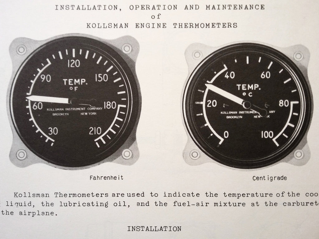 Installation, Operation & Maintenance of Kollsman Engine Thermometers Tech Data Sheets.