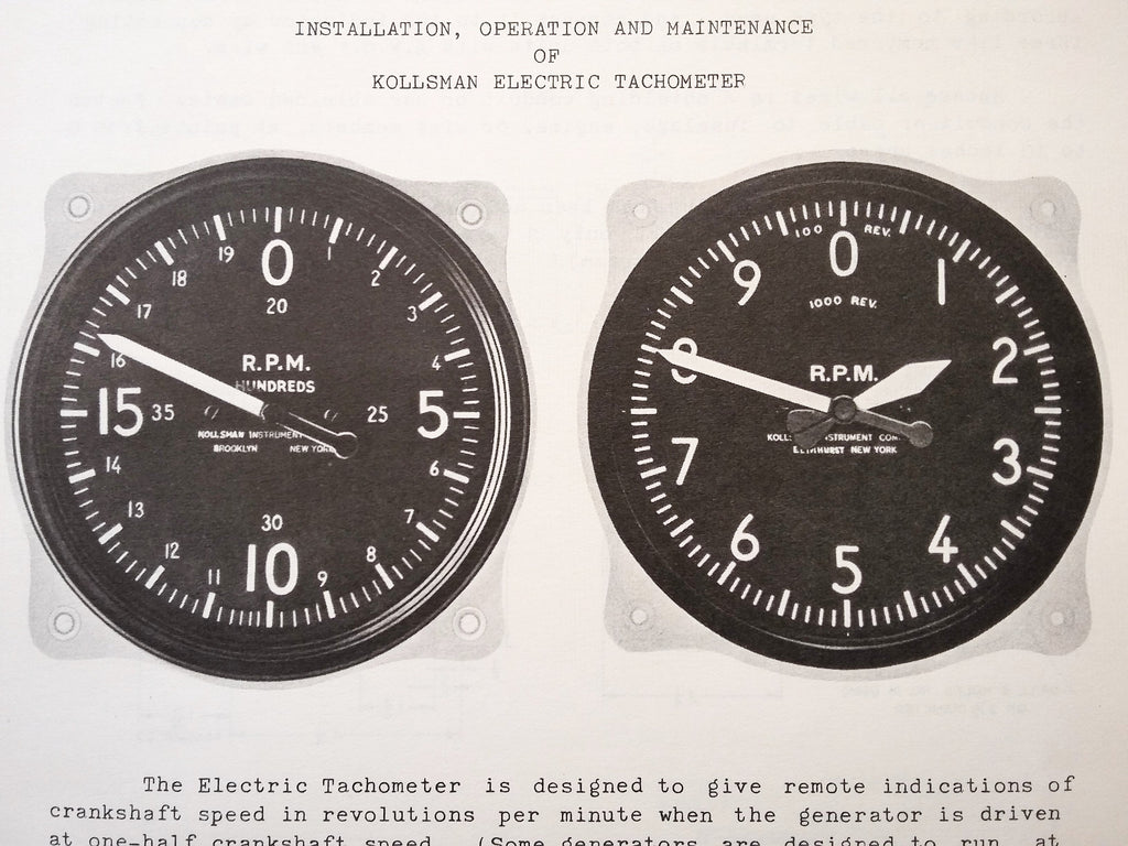Installation, Operation & Maintenance of Kollsman Electric Tachometer Tech Data Sheets.