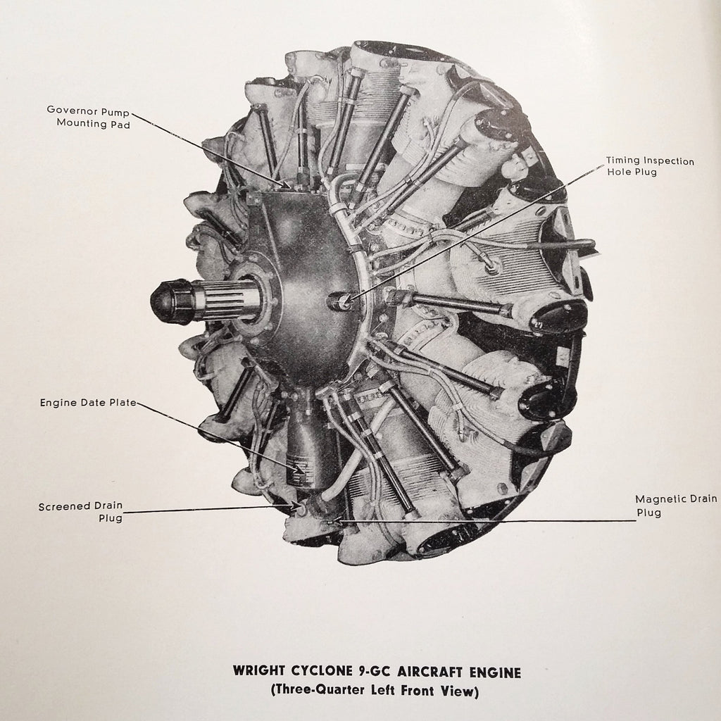 Original 1943 Wright Cyclone 9 Engine C9GC Install, Operation & Service Manual.