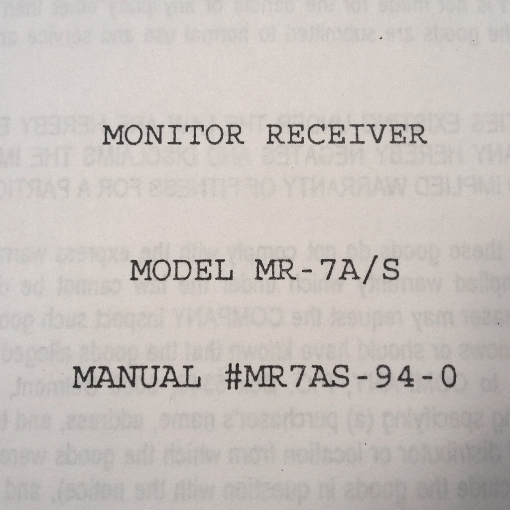 Southern Avionics MR-7A/S Monitor Receiver Service Manual.