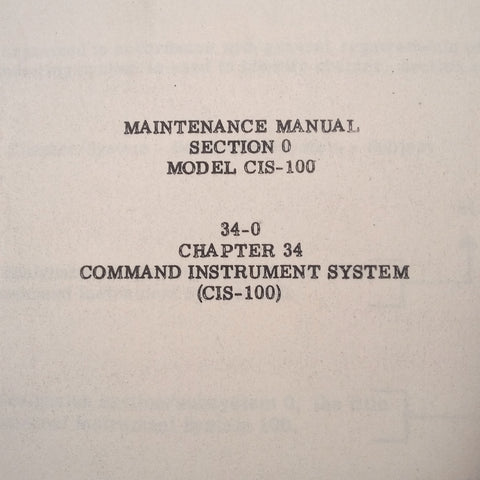 Lear CIS-100 Command Instrument System Operation & Maintenance Manuals, 2 Vols.