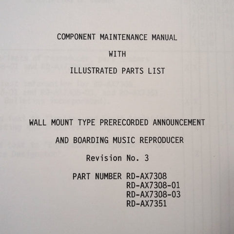 Matsushita RD-AX7308 & RD-AX7351 Announcement/Boarding Reproducer Maintenance Parts Manual.