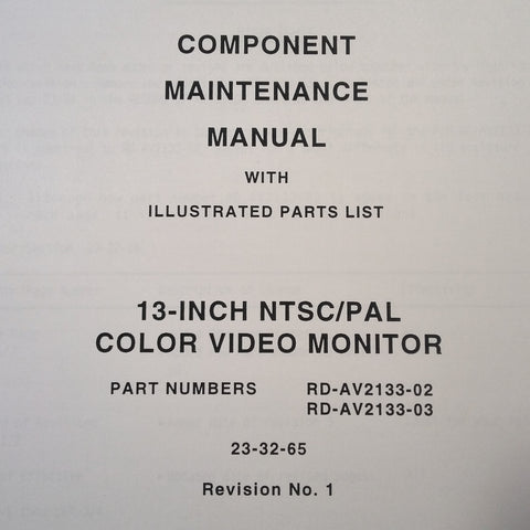 "Matsushita 13"" Monitor RD-AV2133-02 , RD-AV2133-03 Maintenance Parts Manual."