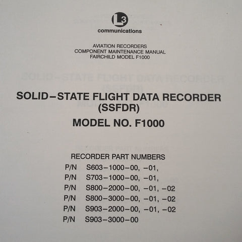Fairchild F1000 Solid-State Flight Data Recorder SSFDR Install Ops Manual.