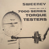 Sweeney Torsion Bar Type E 7000 Torque Testers Operation & Parts Manual.