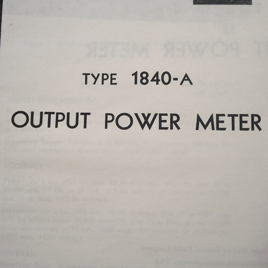 GenRad General Radio 1840A Output Power Meter Instruction Service Manual.