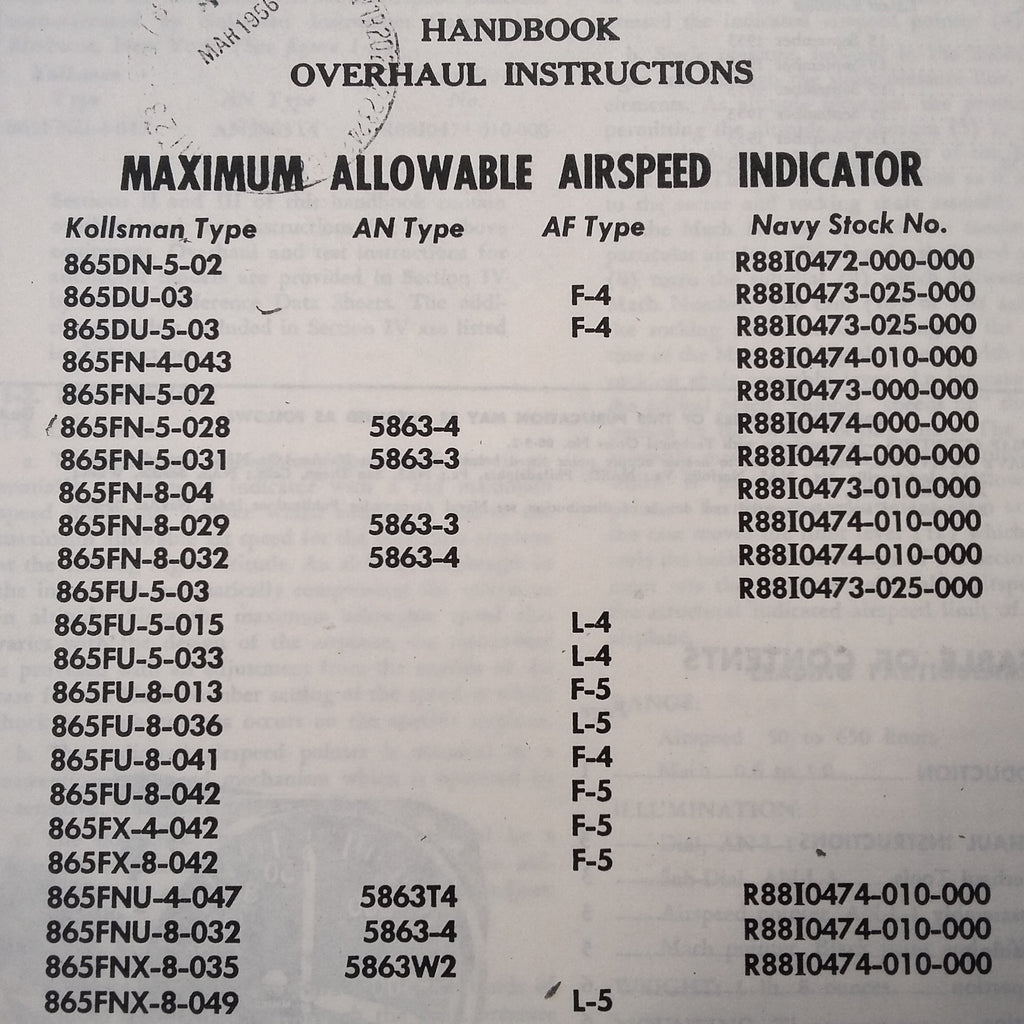 Kollsman Maximum Allowable Airspeed Indicator Overhaul Manual.  F-4, L-4. L-5, F-5, 865 Series, AN5863, R88 Series. Circa 1952.