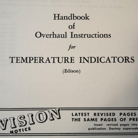 Edison AN5790, AN5795, AN5525 Electrical Temperature Indicators Ratio Resistance Type Overhaul Manual.