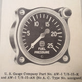 Handbook of Pressure Gages, Overhaul Manual for US Gauge, Manning, Auto-Lite Series PSI Gauges. Circa 1943.