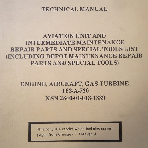 Allison T63-A-720 Turbine Parts Manual.  Circa 1981.