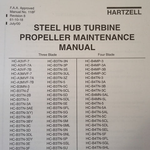Hartzell Steel Hub Turbine Propeller Service Manual.