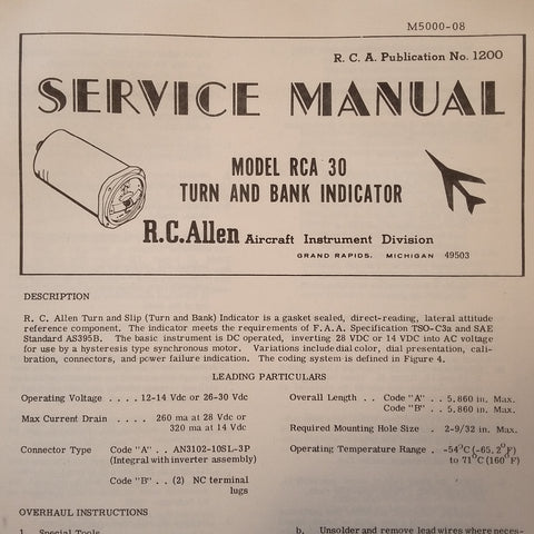 RCA 30 Rate Gyro Turn & Bank Overhaul Manual.