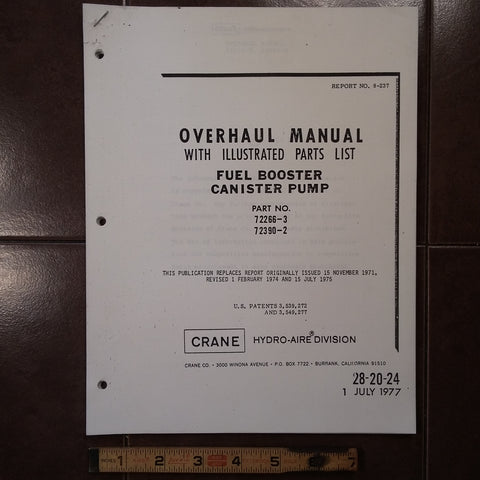 Crane Fuel Booster Canister Pump 72266-3 & 72390-2 Overhaul Manual.