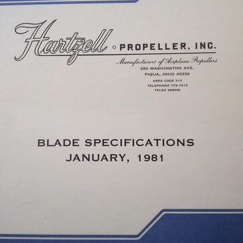 Hartzell Propeller Blade Specifications Manual. 1981.