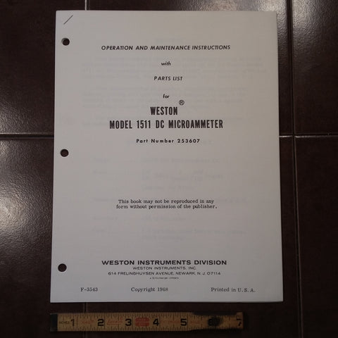 Weston 1511 DC Microammeter Maintenance & Parts Manual.  for pn 253607