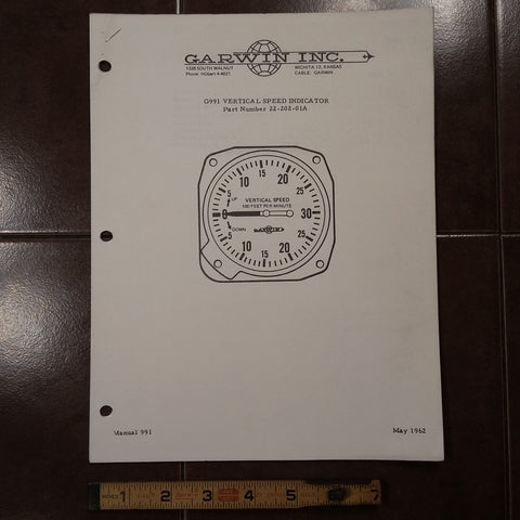 Garwin G991 Vertical Speed 22-202-01A Service Parts Manual.