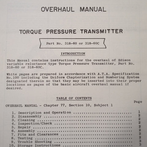 Edison Torque Pressure Transmitter 318-60 & 318-60C Overhaul Manual.