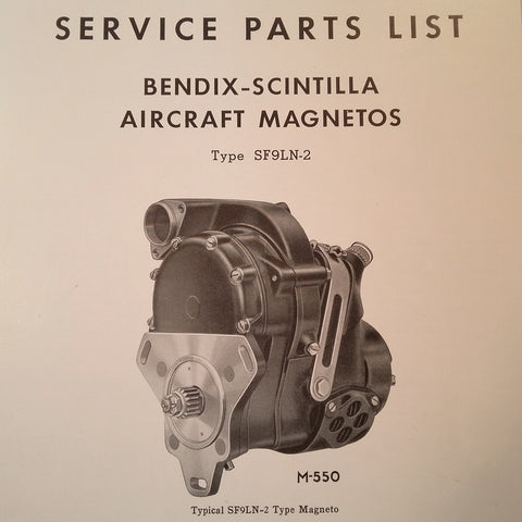 1950 Bendix Scintilla SF9LN-2 Magneto Parts Booklet.