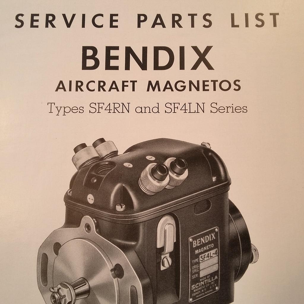 1951 Bendix Scintilla SF4RN and SF4LN Magneto Parts Booklet