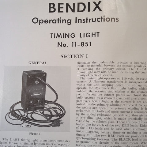 1949 Bendix 11-851 Timing Light Operating Instructions
